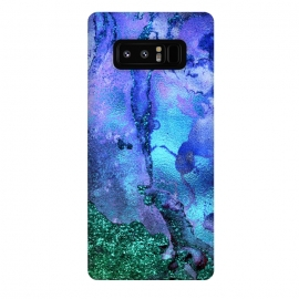Galaxy Note 8  Blue and Green Glitter Marble by Utart