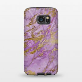 Galaxy S7  Purple and Gold Marble by Utart (Glitter, Stylish, Ombre, Girly, Marble, Marbled, Nature, Texture,  Geode ,Terrazzo,  Metallic, Scandi, Bohemian, Boho, Scandinavian, stone, crystal, quartz, gemstone, gem, granite,  shimmer, shimmery, shiny ,metallic,  trendy, girly, simply, simple, glitter, chrystal ,ink, malachite, agate,purple,vi)