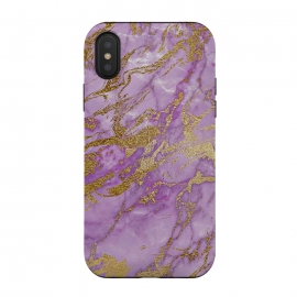 iPhone Xs / X  Purple and Gold Marble by Utart (Glitter, Stylish, Ombre, Girly, Marble, Marbled, Nature, Texture,  Geode ,Terrazzo,  Metallic, Scandi, Bohemian, Boho, Scandinavian, stone, crystal, quartz, gemstone, gem, granite,  shimmer, shimmery, shiny ,metallic,  trendy, girly, simply, simple, glitter, chrystal ,ink, malachite, agate,purple,vi)
