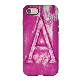 iPhone 8/7  Grunge Style Pink Letter A by Andrea Haase