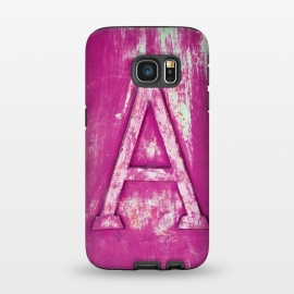 Galaxy S7  Grunge Style Pink Letter A by Andrea Haase