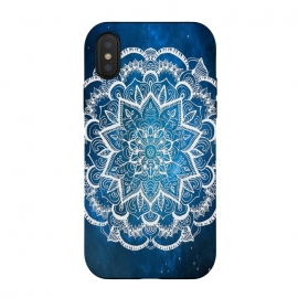 iPhone Xs / X  Mandala into Galactic stars by ''CVogiatzi. (cvogiatzi, designs, home, beauty, mandala, top, happy, galaxy, universe, flower, decor, new, glam, lux, dream, boho, bohemia, abstract, digital-manipulation, digital, hdr, concept, cv, trend, white, blue, nova, design)