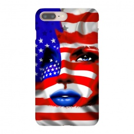 iPhone 8/7 plus  Usa Flag on Girl's Face by