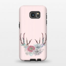 Galaxy S7 EDGE  Bohomian Art- Antlers Flowers and Cactus by Utart