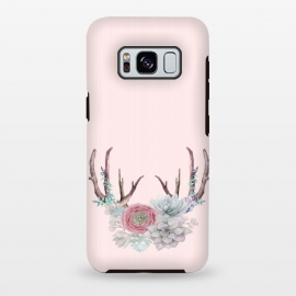 Galaxy S8 plus  Bohomian Art- Antlers Flowers and Cactus by