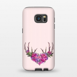 Galaxy S7  Bohemian Watercolor Illustration - Heart and Antler by Utart (blossom, tree, spring, flower, pink, nature, season, floral, petal, beautiful, bloom, illustration, flora,  blooming, natural, beauty, botany, summer, springtime,  botanical, romantic, vintage,  romantic,teal,turquoise,blue,aqua,flowers,retro,pattern,girly,trendy,modern,fashion,rose,roses,antler,ant)
