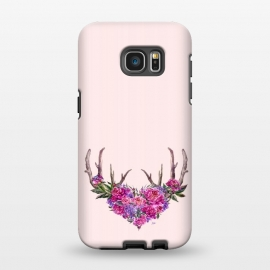 Galaxy S7 EDGE  Bohemian Watercolor Illustration - Heart and Antler by Utart