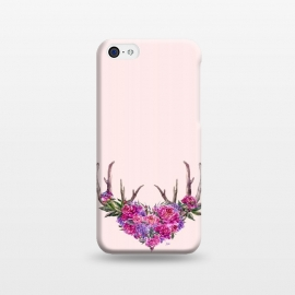 iPhone 5C  Bohemian Watercolor Illustration - Heart and Antler by Utart