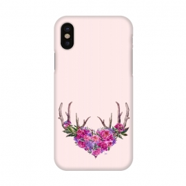 iPhone X  Bohemian Watercolor Illustration - Heart and Antler by Utart
