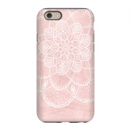 iPhone 6/6s  White Mandala on Pink Faux Marble by Utart