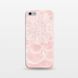 iPhone 5/5E/5s  White Mandala on Pink Faux Marble by Utart