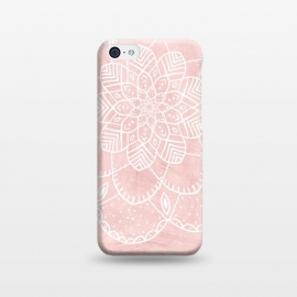 iPhone 5C  White Mandala on Pink Faux Marble by Utart