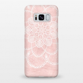 Galaxy S8+  White Mandala on Pink Faux Marble by Utart