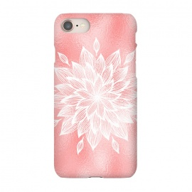 iPhone 8/7  White Mandala on Pink Metal by Utart