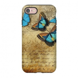iPhone 8/7  Blue Butterfly Vintage Collage by Andrea Haase