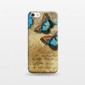 iPhone 5C  Blue Butterfly Vintage Collage by Andrea Haase