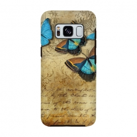 Galaxy S8  Blue Butterfly Vintage Collage by Andrea Haase