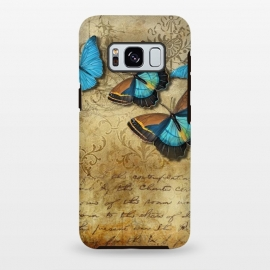Galaxy S8+  Blue Butterfly Vintage Collage by Andrea Haase