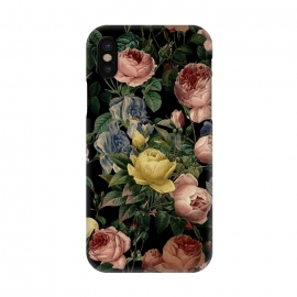 iPhone X  Victorian Vintage Roses on Black by