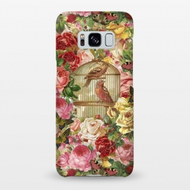 Galaxy S8+  Vintage Bird Cage and Flowers by Andrea Haase