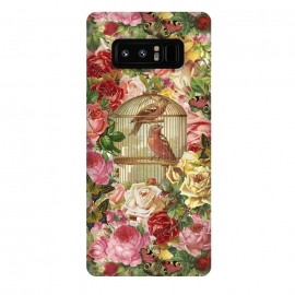 Galaxy Note 8  Vintage Bird Cage and Flowers by Andrea Haase