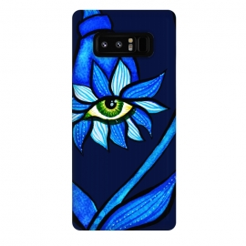 Galaxy Note 8  Blue Staring Creepy Eye Flower by Boriana Giormova