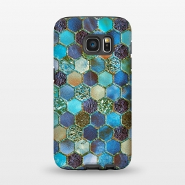Galaxy S7  Multicolor Blue Metal Honeycomb Pattern by Utart