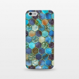 iPhone 5/5E/5s  Multicolor Blue Metal Honeycomb Pattern by Utart