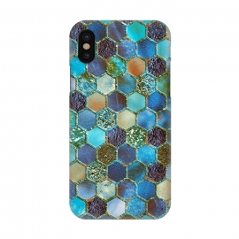 iPhone X  Multicolor Blue Metal Honeycomb Pattern by Utart