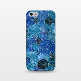 iPhone 5/5E/5s  Blue Abstract Metal Dots and Circles by Utart