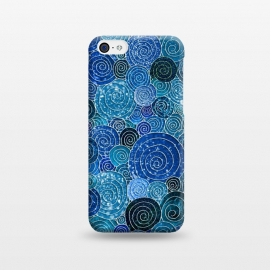 iPhone 5C  Blue Abstract Metal Dots and Circles by Utart