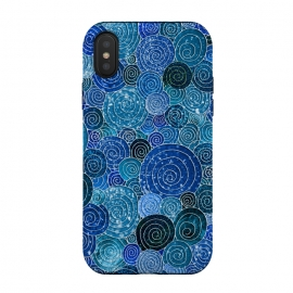 Blue Abstract Metal Dots and Circles by Utart
