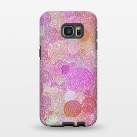 Galaxy S7 EDGE  Pink Metal Circles Dots Pattern by Utart
