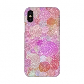 iPhone X  Pink Metal Circles Dots Pattern by Utart