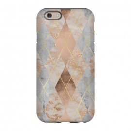 iPhone 6/6s  Trendy Argyle Marble and Concrete Copper Pattern by Utart