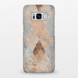 Galaxy S8+  Trendy Argyle Marble and Concrete Copper Pattern by Utart