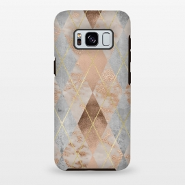 Galaxy S8 plus  Trendy Argyle Marble and Concrete Copper Pattern by