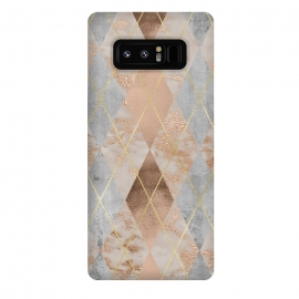 Galaxy Note 8  Trendy Argyle Marble and Concrete Copper Pattern by Utart