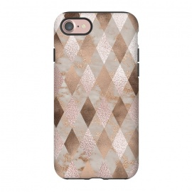 iPhone 8/7  Abstract Trendy Copper Concrete Argyle Pattern by Utart