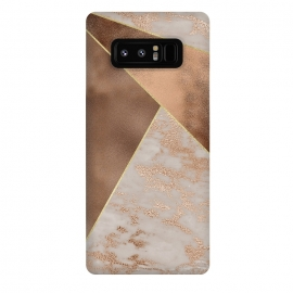 Galaxy Note 8  Modern minimalistic Copper Marble Triangles  by