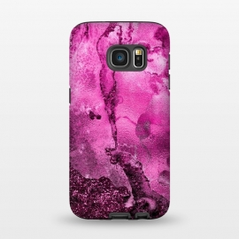 Galaxy S7  Purple and Pink Glittering Ink Marble by Utart (Glitter, Stylish, Ombre, Girly, Marble, Marbled, Nature, Texture,  Geode ,Terrazzo,  Metallic, Scandi, Bohemian, Boho, Scandinavian, stone, crystal, quartz, gemstone, gem, granite,  shimmer, shimmery, shiny ,metallic,  trendy, girly, simply, simple, glitter, chrystal ,ink, malachite, agate,purple,vi)