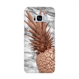 Rose Gold Pineapple on Marble by Utart