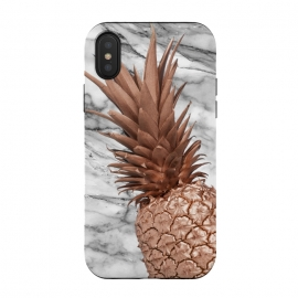 iPhone Xs / X  Rose Gold Pineapple on Marble by Utart (Glitter, Stylish, Ombre, Girly, Marble, Marbled, Nature, Texture,  Geode ,Terrazzo,  Metallic, Scandi, Bohemian, Boho, Scandinavian, stone, crystal, quartz, gemstone, gem, granite,  shimmer, shimmery, shiny ,metallic,  trendy, girly, simply, simple, glitter, chrystal ,ink, malachite, agate,food,frui)