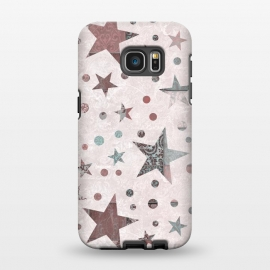 Galaxy S7 EDGE  Pink Teal Patchwork Star Pattern by Andrea Haase