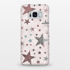 Galaxy S8+  Pink Teal Patchwork Star Pattern by Andrea Haase