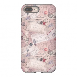 iPhone 8/7 plus  Vintage Letter Collage In Soft Pink by Andrea Haase