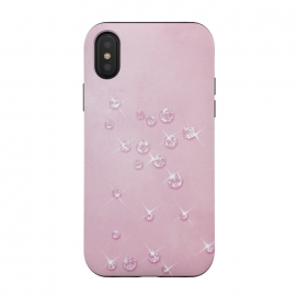 iPhone Xs / X  Sparkling Pink Rhinestones by Andrea Haase (rhinestone, glitter, glamour, precious, glamorous, shiny,sparkle, luxury, elegant, feminine, exclusive, pink, metal, beautiful, pastel,  silver, shimmering, sparkle, extravagant, exquisite, fancy, fashionable)