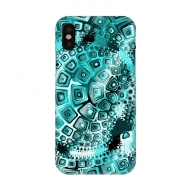 iPhone X  Teal Blue Fractal by Andrea Haase