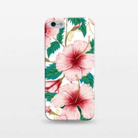 iPhone 5/5E/5s  Entice by Uma Prabhakar Gokhale (graphic, pattern, hibiscus, floral, flower, blossom, bloom, tropical, nature, botanical, blush, pink, green, blue, gold, minimal, exotic)