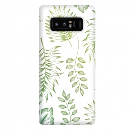 Galaxy Note 8  Tropical Leaves by  (Leaves, green, greenery, foliage, nature, tropical, digital, Illustration, flora, exotic, drawing, monstera, ferns, leaf, botanical)